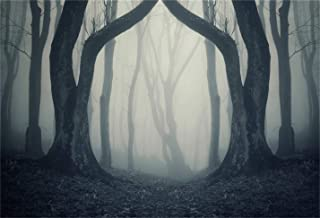 LFEEY 7x5ft Misty Woods Background Gloomy Forest Bare Trees Photography Backdrop Magic Grove Vampire Witch Wizard Sorcerer Ghost Evil Scary Halloween Party Decoration Photo Studio Props Vinyl Banner