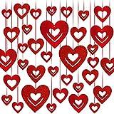 Rorchio Guirnaldas de corazones rojos en diferentes tamaños, Decoración de San Valentín, adorno de cortina para bodas, fiestas de aniversario y compromisos (40 piezas)