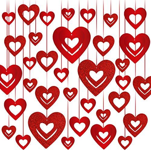 Rorchio Ghirlande a Cuore Rosso di Diverse Dimensioni, Decorazioni per San Valentino, Decorazioni per Tende per Feste di Anniversario di Matrimonio e Fidanzamento (40 Pezzi)