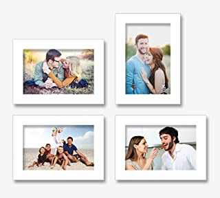Art Street Endearing Set of 4 White Individual Wall Photo Frames (Picture Size-5X7)