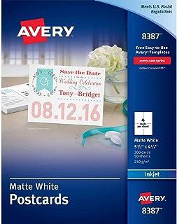 $24 » avery Postcards for Inkjet Printers, 4 1/4 x 5 1/2, Matte White, 4/Sheet, 200/Box