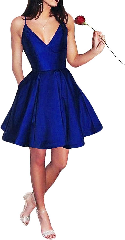 Ellystar Women's ALine Zipper Sleeveless Satin Short New Spaghetti Prom Dresses