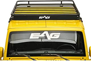 EAG 2 4 Door Roof Rack Cargo Basket with Wind Deflector Fit for 07-18 Jeep Wrangler JK
