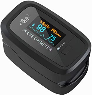 Lovia Pulse Oximeter Fingertip, Blood Oxygen Saturation Monitor for Pulse Rate and SpO2 Level, Suitable for Home, Exercise and Travel Use, Include Lanyard (Black)