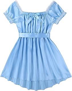 ACSUSS Men's Satin Frilly Crossdressing Dress Lingerie Sissy Nightwear Underwear