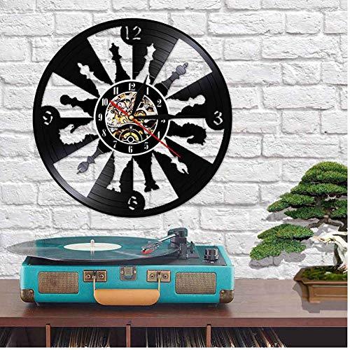Wangzhongjie Reloj De Pared Reciclado Reciclado con Disco De Vinilo De Ajedrez, Juego De Ajedrez, Letrero Led Múltiple, Amante De Las Damas Internacionales