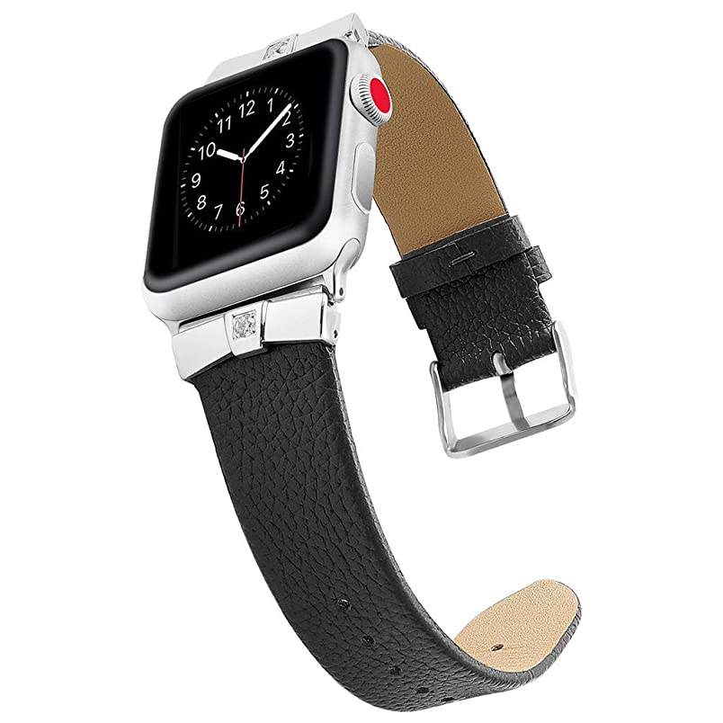 certainPL Replacement Leather Band Strap Compatible for Apple Watch 42mm 44mm Series 4/3/2/1 (Black) fb203928594