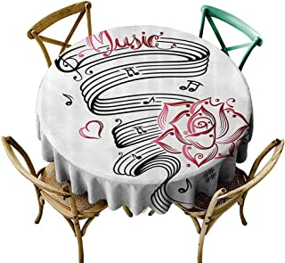 Tattoo Decor Waterproof Tablecloth Language of Love Valentines Musical Inspiration on Sheet with Rose Hearts Easy Care D63 Black and White