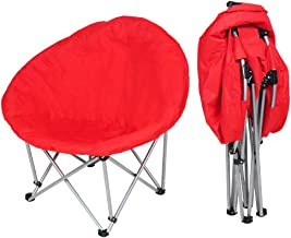 Yescom Portable Folding Saucer Padded Moon Chair Comfort Lounge Bedroom Garden Furniture Camping Red Seat