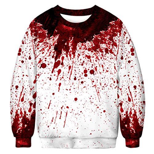 MAYOGO Herren Halloween 3D Sweatshirt Pullover mit Rundhalskragen, Halloween Kürbis 3D Sweatjacke Pulli Halloween Horror Oberteile