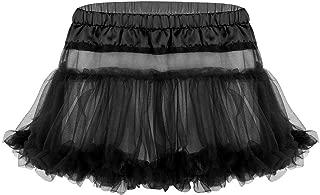 Mens Sissy Satin Tulle Layered Ruffled Crossdressing Mini Short Skirt Costume