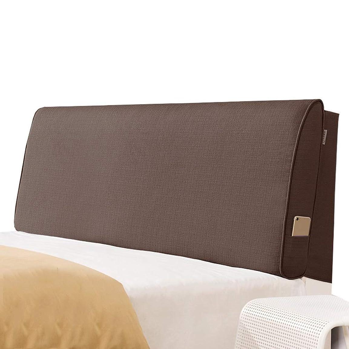 子くさび城WZBヘッドボードクッション通気性快適ウエストサイドポケット取り外し可能、5サイズ、5色をサポート(色:A-ブラウン、サイズ:180x60x10cm)