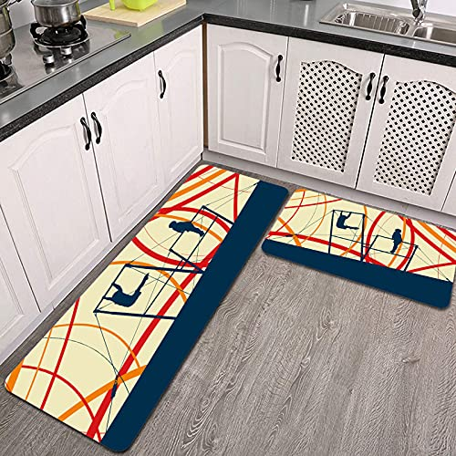 2 Piezas Alfombrillas de Cocina,Atleta Gimnasta Ejercicios de Gimnasia Profesional. Antideslizante Alfombra para Puerta de Baño Juego de alfombras Cocina Lavables