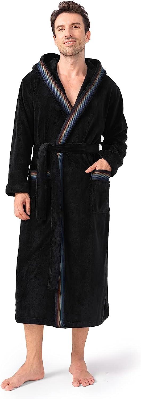 Raleigh Mall DAVID ARCHY Men's Warm National products Robe Soft Long Bathrob Fleece Coral Plush
