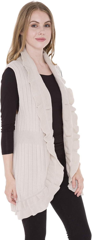 Janice Apparel Women's Winter Warm Fashion Open Front Ruana Knit Vest Wide Solid Ruffled Trim Poncho Sweater