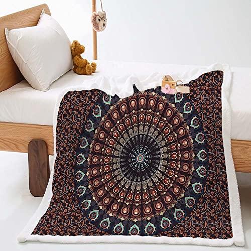 Highdi Wohndecke Kuscheldecke Flauschige Zweiseitige Decke mit Konstellation Mandala Bedruckt Weiche Warm Fleecedecke als Sofaüberwurf Tagesdecke oder Wohnzimmerdecke (Rotbrauner Boho,150x200cm)