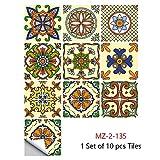 Byrhgood 10 unids/Set Colorido Mandala patrón Cristal Azulejos Duros Pegatina de Pared Piso de la Cocina renovación de la casa renovación Arte Mural desmontañas de Pared extraíbles