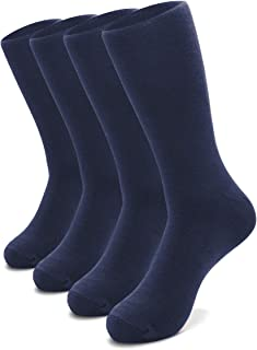 Men's Cotton Crew Business and Casual Solid Color Dress Socks, 4-Pack