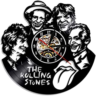 JIAJBG Creativo Discovinilo Reloj Rolling Stones Series Reloj Retro Silencio Campana Led Luz Noche Campana 12 Pulgadas Peg...