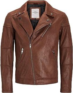 Jack & Jones JORMICHAEL 12131683 Suede Biker Jacket Cognac