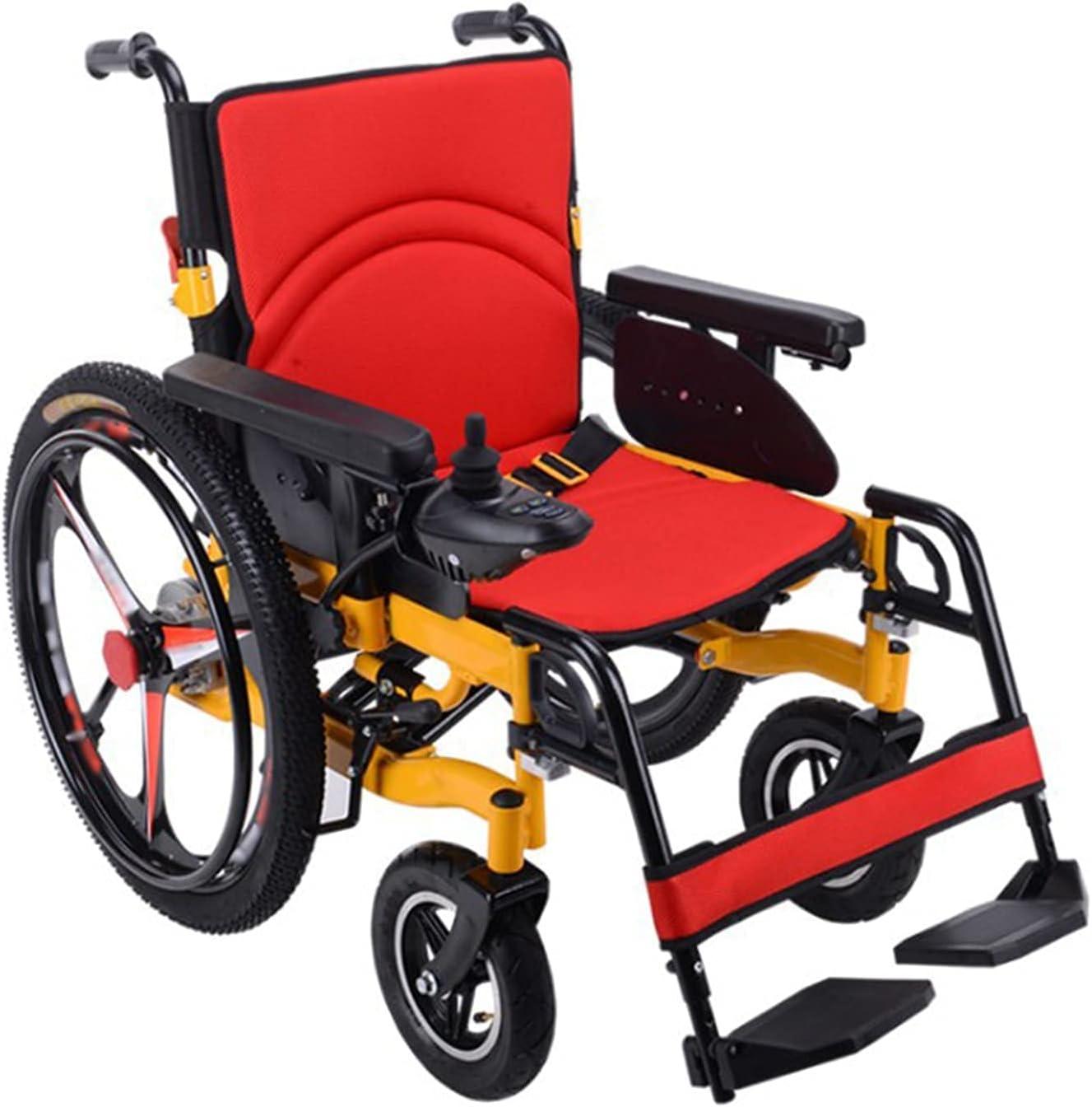FGVDJ Silla de Ruedas eléctrica, Plegable Silla de Ruedas Ligera Silla de Ruedas eléctrica Scooter para discapacitados Neumáticos Plegables y Ligeros de aleación de a