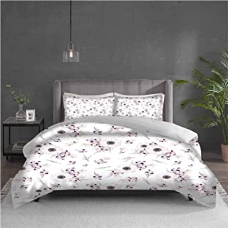 Duvet Cover Set Anemone Flower Shabby Chic Spring Pattern Blossoming Bridal Bouquets Romantic Baby Pink Lilac Purple for Kids/Teens/Adults Hidden Zipper Quilt Cover Printed Twin Size 68x86 inch