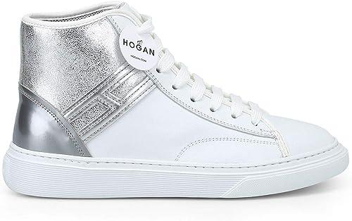 Hogan Damen HXW3660J981JCU0351 Silber Weißs Leder Hi Top Turnschuhe