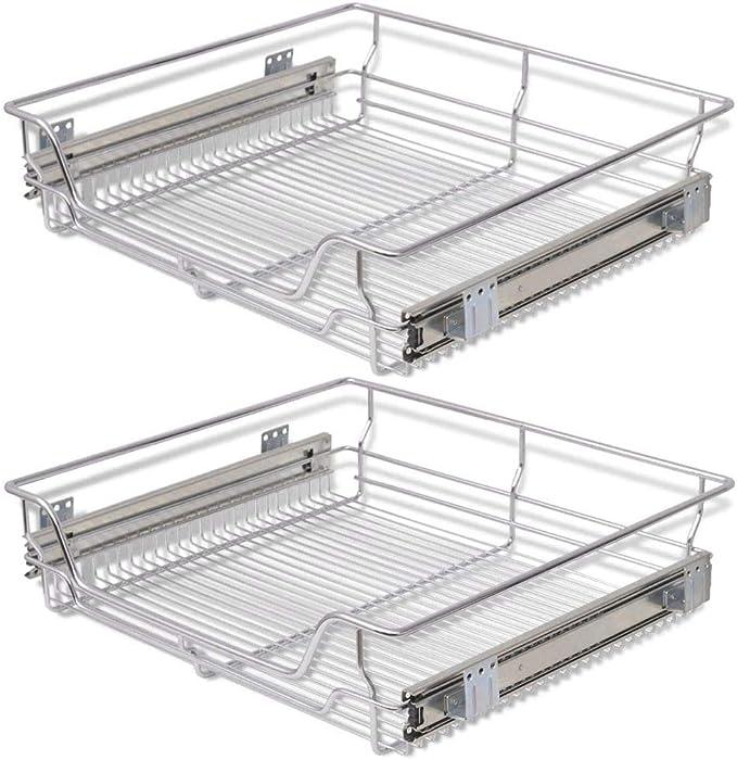 1394 opinioni per vidaXL 2x Cestelli a Rete Metallo Scorrevoli Cucina 600 mm Supporto Stoviglie