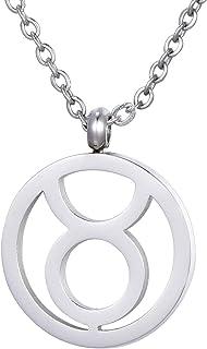 Morella collana da donna in acciaio inox argento con ciondolo segno zodiacale in sacchetto di velluto
