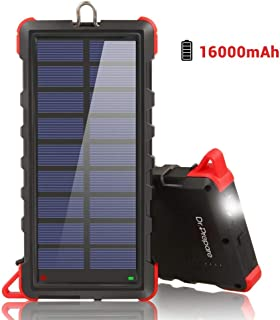 Dr. Prepare Solar Phone Charger Power Bank 16000mAh, IP66 Water-resistant Portable Solar Battery Charger with Dual USB Ports and Outdoor LED Flashlight for iPhone, iPad, Huawei, Samsung Galaxy