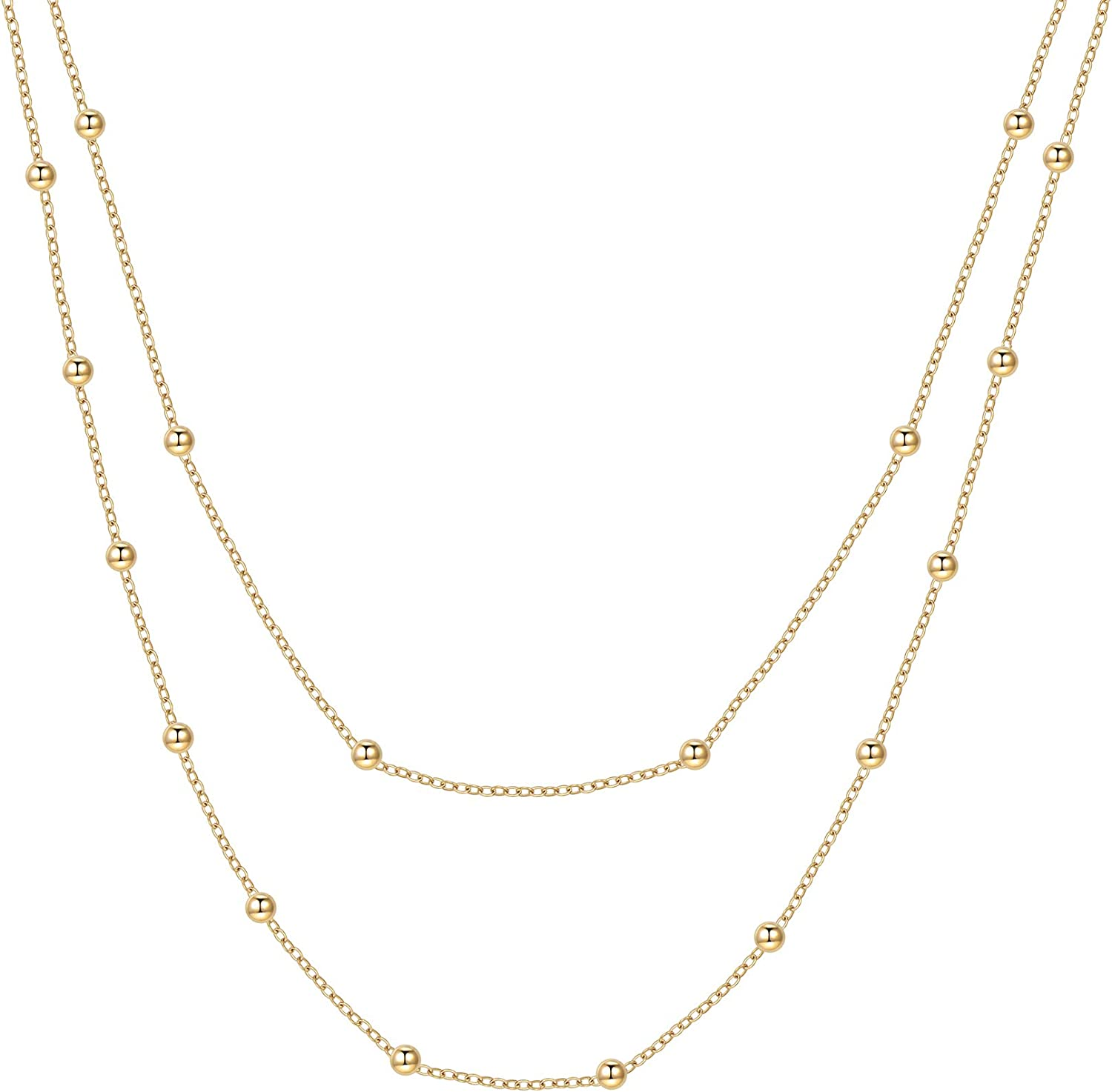 Happiness Boutique Women Layered Necklace Gold Color Delicate Double Chain Necklace Stainless Steel Jewelry