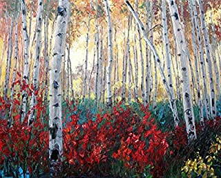100% Genuine Real Hand Painted Birch Tree and Lavender Fields Canvas Oil Painting for Home Wall Art Decoration, Not a Print/ Giclee/ Poster