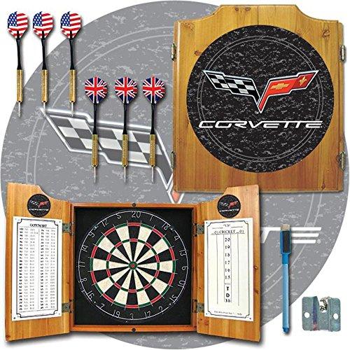 Trademark - Corvette Model C6 Dart Board Cabinet with Bristle Board and Darts