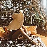 Wide Brim protezione solare delle donne Cappello paglia, cappello estate pieghevoli rullo Up Floppy Cappelli Beach per donne lavorato a maglia Handmade Hollow Donne Grande Cappello sole bordo,Bianca