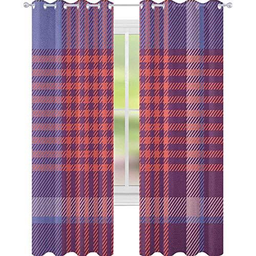 YUAZHOQI Checkered Curtains for Living Room Retro British Irish Cultural Pattern of Tartan Abstract Celtic Design Waterproof Window Curtain 52' x 95' Purple Lavender Orange