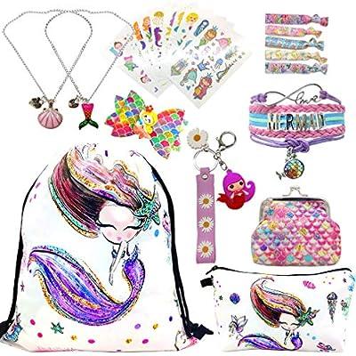 RLGPBON Unicornios Mochila con cordón/Maquillaje Bolsa/Collar de Cadena de aleación/Pulsera/5 Piezas de Lazos para el Cabello Unicornio/Unicornio Drawstring Gift para niñas (Type 10)
