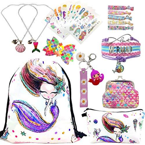 Geschenke für Mädchen 5 Pack, Katze Kordelzug Rucksack Und Make-up Tasche,Mädchen Halskette, Niedlich Katze Armband Armkette Verstellbar,und Aufkleber für Kinder