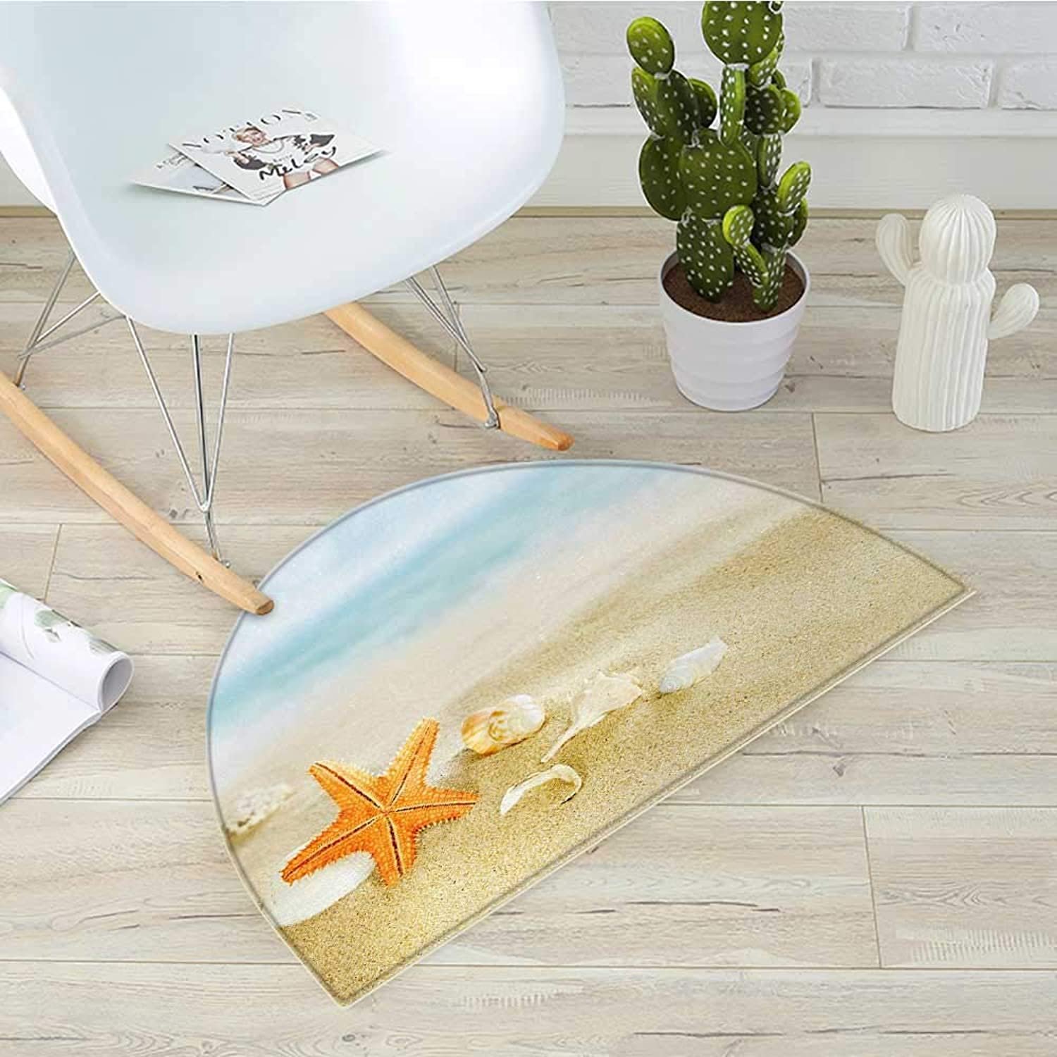 Starfish Half Round Door mats Tropical Caribbean Seacoast with Different Shells and Animals Relaxing Vacation Bathroom Mat H 31.5  xD 47.2  Multicolor
