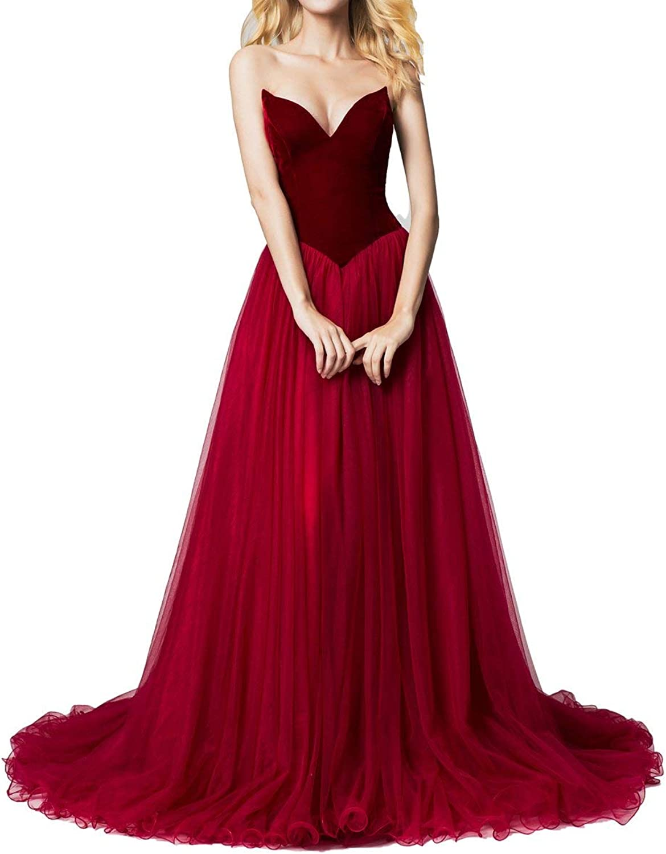 ICCELY Women's Aline Sweetheart Sleeveless Prom Dress Evening Dress