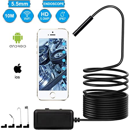 Freesoo Endoscope Inspection Camera For Mobile Phone Wifi 5 Megapixel Hd Ip67 With Light Semi Rigid Cable 6 Leds For Android Ios 10m Auto