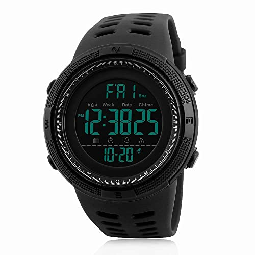 Mens Digital Sports Watch Waterproof Military Stopwatch Countdown Auto Date Alarm