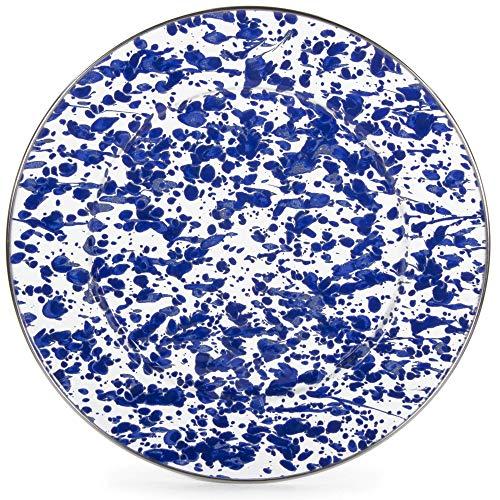 Golden Rabbit Enamelware - Cobalt Blue Swirl Pattern - 10.5 Inch Dinner Plate