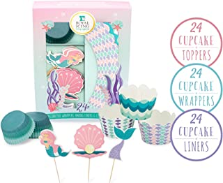 Mermaid Cupcake Toppers & Decorations - Cake Picks for Mermaid Theme Party Cupcake Topper Picks Decoration for Birthday Party Baby Shower Wedding Shower Birthday Party Supplies