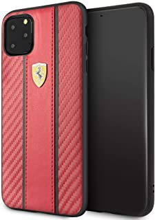 CG Mobile Ferrari Pu Leather Hard Case for iPhone 11 Pro Max Cell Phone Cover with Carbon Fiber Inspired Design Drop Prote...
