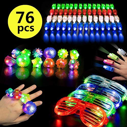 Pachock 76 Piezas LED Iluminan el Brillo del Juguete con 12 Bracelets with Rings of LED Lights and 4 LED Glasses Lights,60 Piezas LED Luces de los Dedos se iluminan Juguetes Fiesta Favor Suministros.