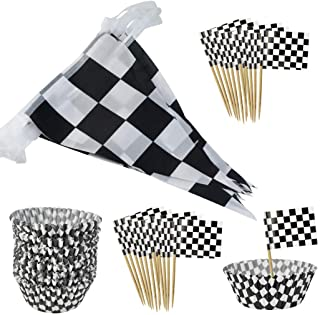 401pcs Checkered Racing Flag Party Cupcake Picks Checkered Cupcake Toppers Mini Flag Food Fruit Picks with 1pc Checkered F...