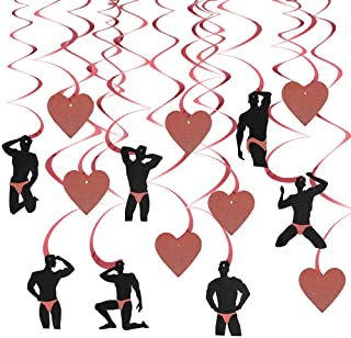 Bachelorette Party Decorations Supplies - Rose Gold Men Dancer with Heart Hanging Swirls - Dirty Naughty Bachelorette Part...
