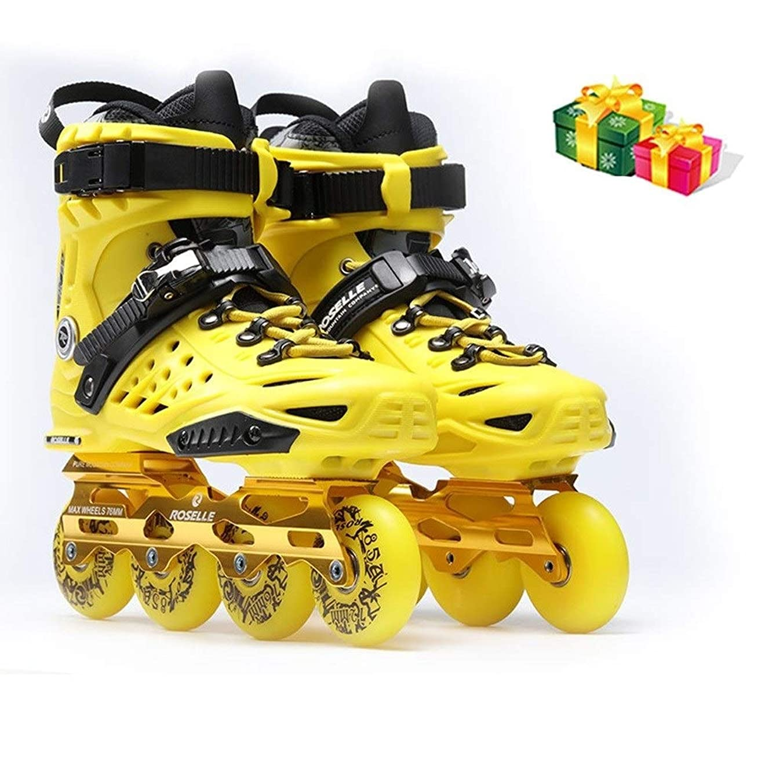 黒くする意欲夕方Ailj インラインスケート インラインスケート、成人向け単列スケート、快適かつ 初心者用ファンシーローラースケート、サイズ35-44イエローブルー 高構成プロスケート靴 (Color : A, Size : EU 41/US 9/UK 8/JP 26cm)