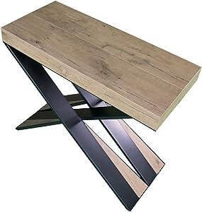 Mesa consola extensible Diago de roble natural, estilo moderno, 14plazas, fabricada en Italia