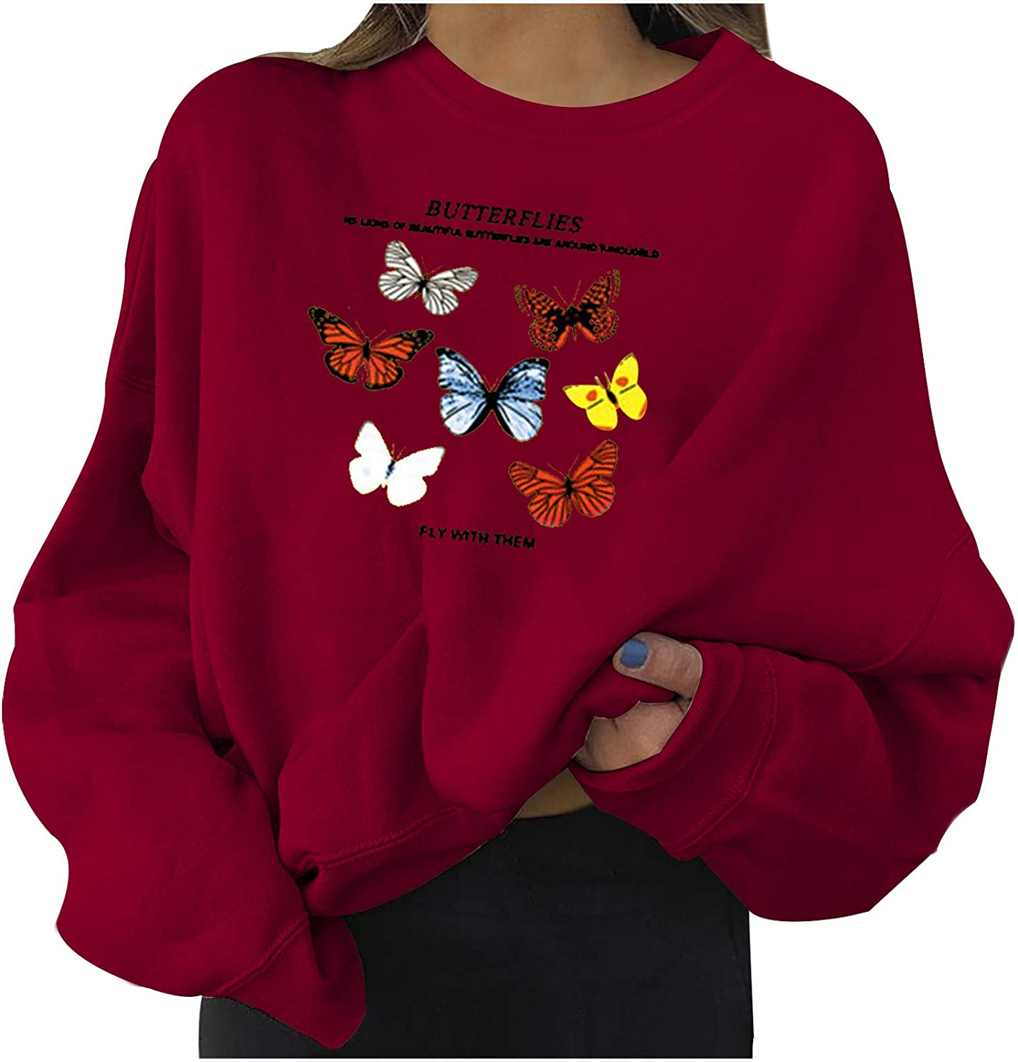 Oversized Sweatshirt for Womens Crewneck Tops Long Sleeve Blouse Butterfly Printed Pullover Casual Loose Tunic